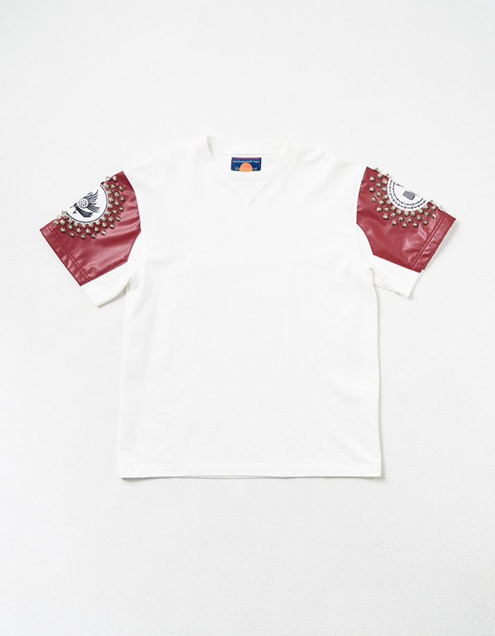 Synthetic Leather Tee w/ Studs Detail