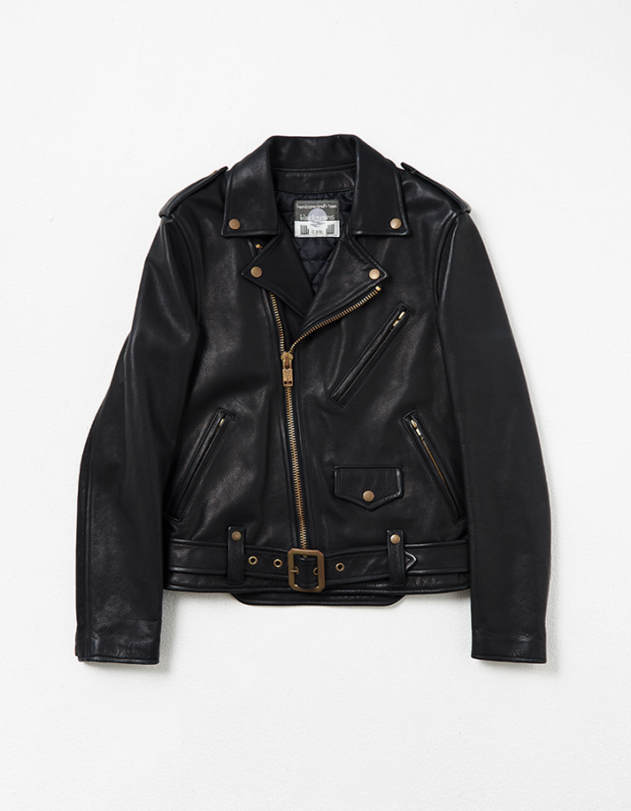 Leather Motorcycle Jacket w/ Front Backle Detail