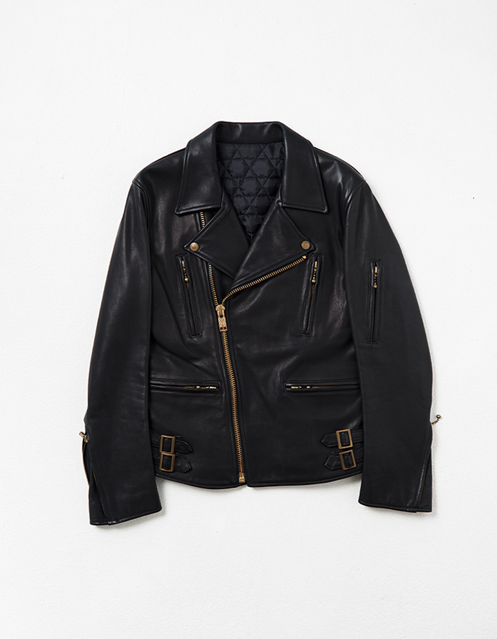 Leather Motorcycle Jacket w/ Side Backle Detail