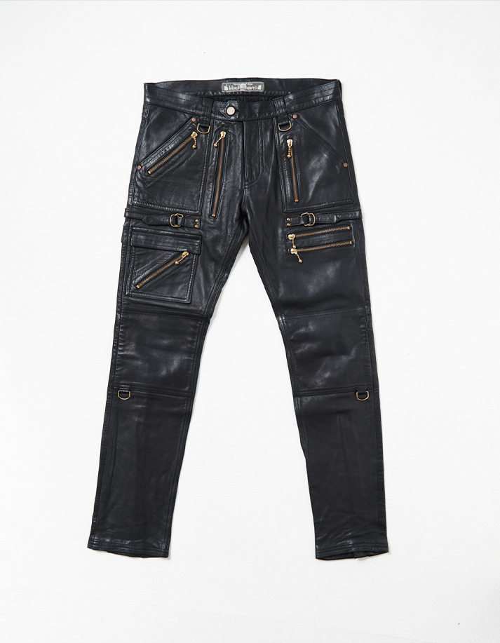 Cow Leather Pants w/ Zippers' Detail