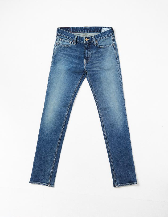 HD Denim Pants w/ Distressed Detail -Stretched Slim