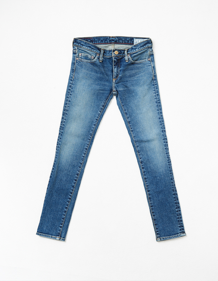 HD Women's Denim Pants w/ Distressed Detail -Stretched Slim